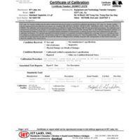 Calibrazione accreditata ISO-17025 con dati di test