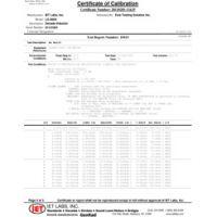 Dati del test di calibrazione Z540
